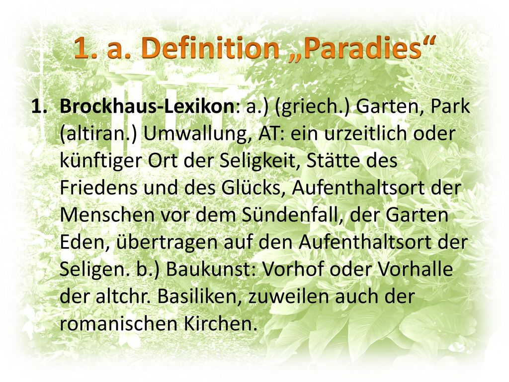 """1. a. Definition """"Paradies"""