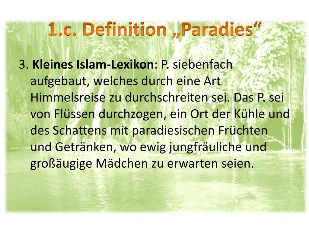 """1.c. Definition """"Paradies"""