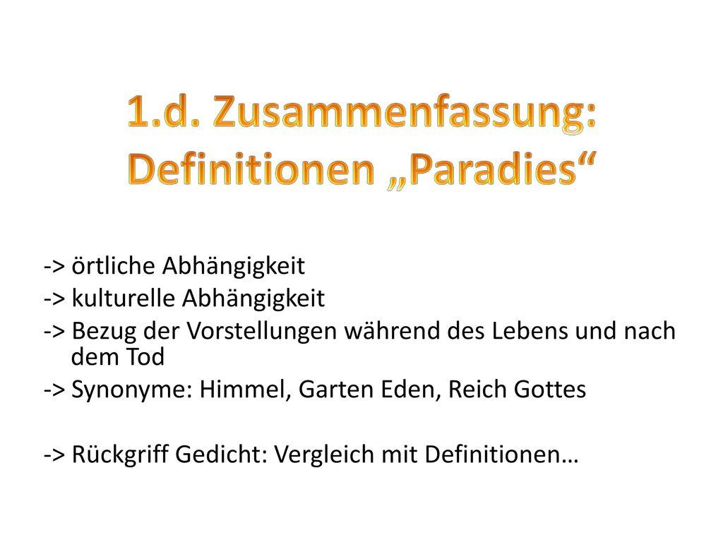 """1.d. Zusammenfassung: Definitionen """"Paradies"""