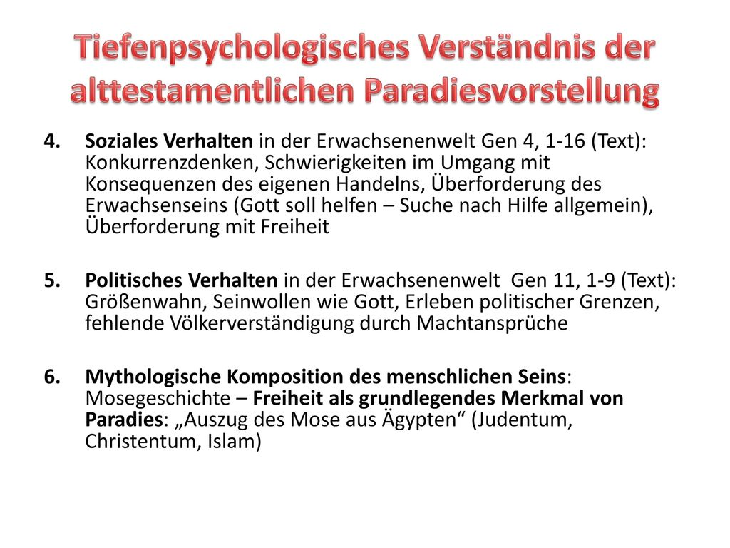 Tiefenpsychologisches Verständnis der alttestamentlichen Paradiesvorstellung