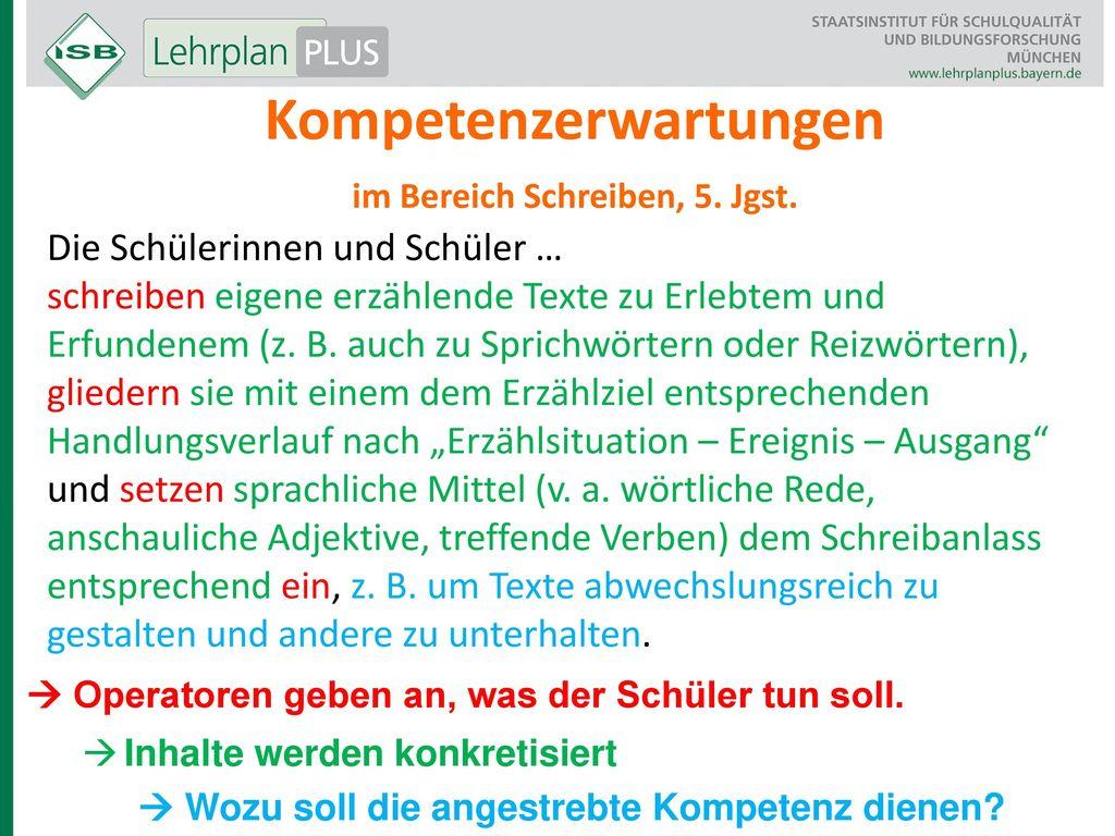 Kompetenzerwartungen im Bereich Schreiben, 5. Jgst.