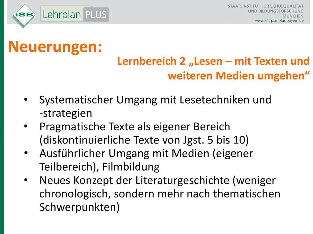 """Neuerungen: Lernbereich 2 """"Lesen – mit Texten und"""