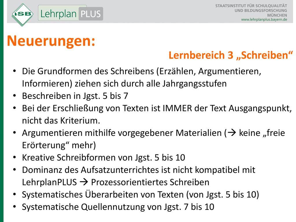 """Neuerungen: Lernbereich 3 """"Schreiben"""