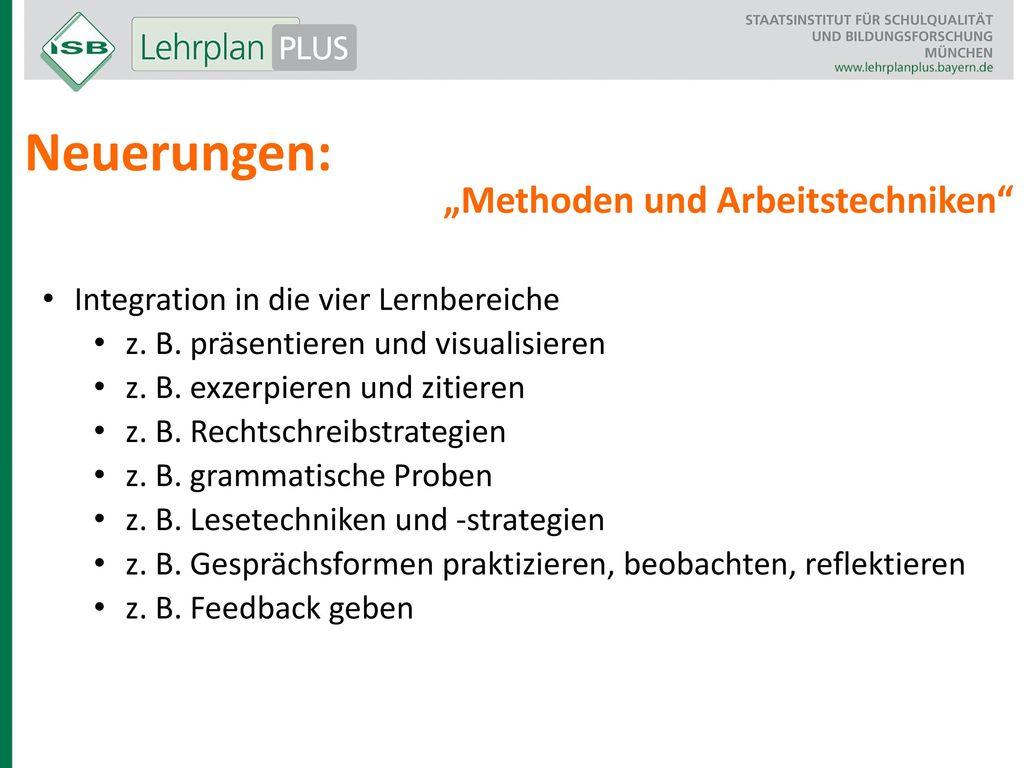 """Neuerungen: """"Methoden und Arbeitstechniken"""