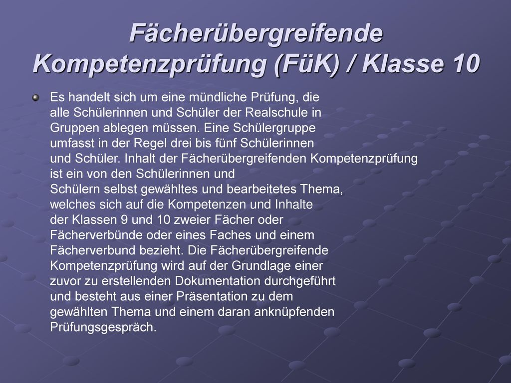 Fächerübergreifende Kompetenzprüfung (FüK) / Klasse 10