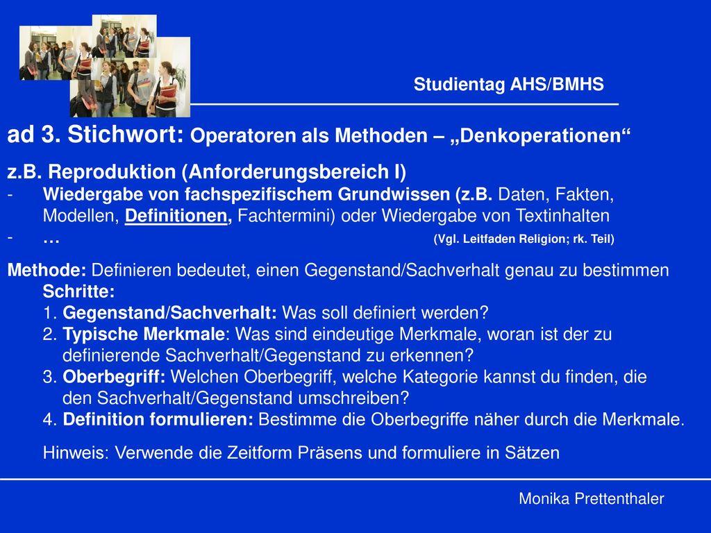 """ad 3. Stichwort: Operatoren als Methoden – """"Denkoperationen"""