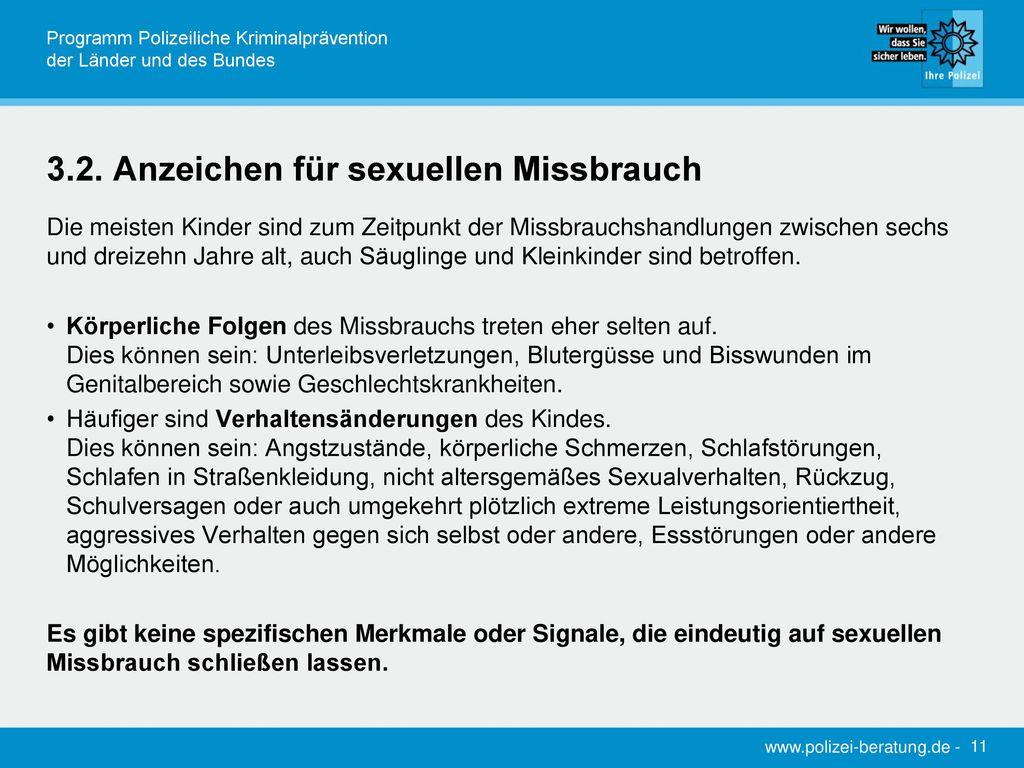 3.2. Anzeichen für sexuellen Missbrauch