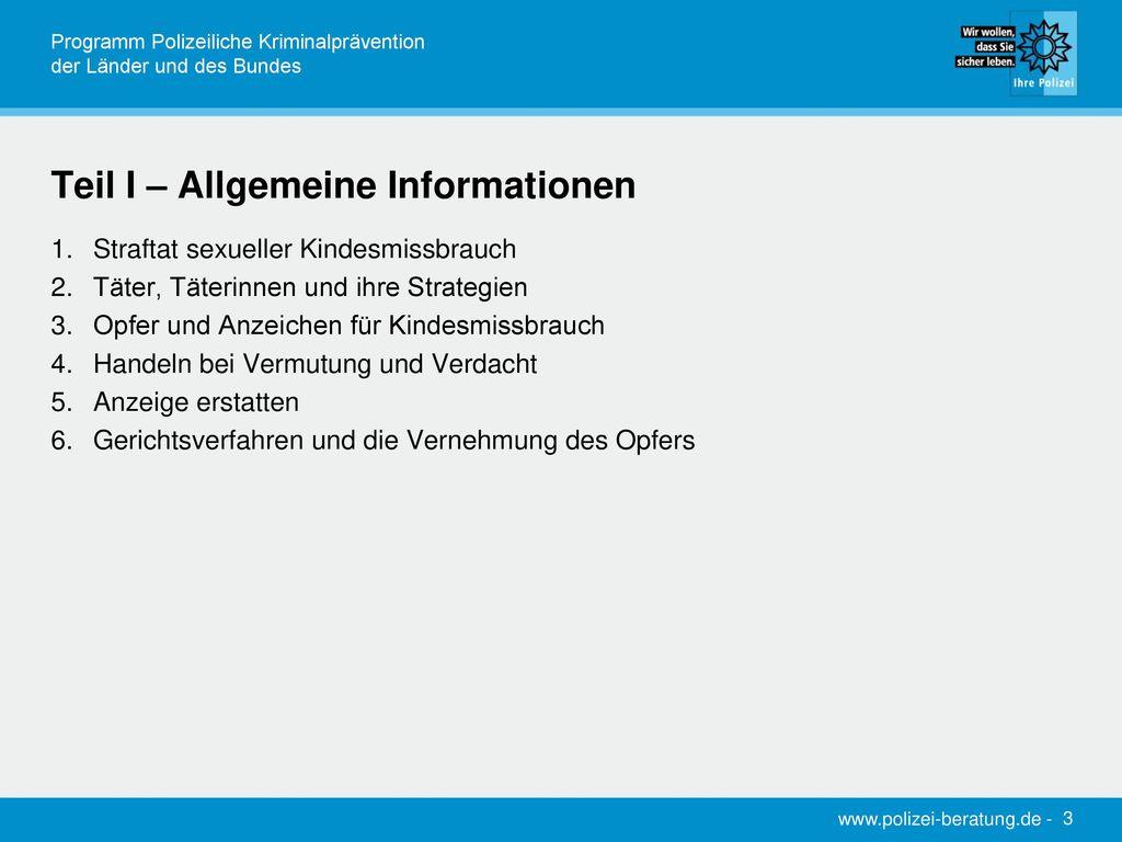 Teil I – Allgemeine Informationen