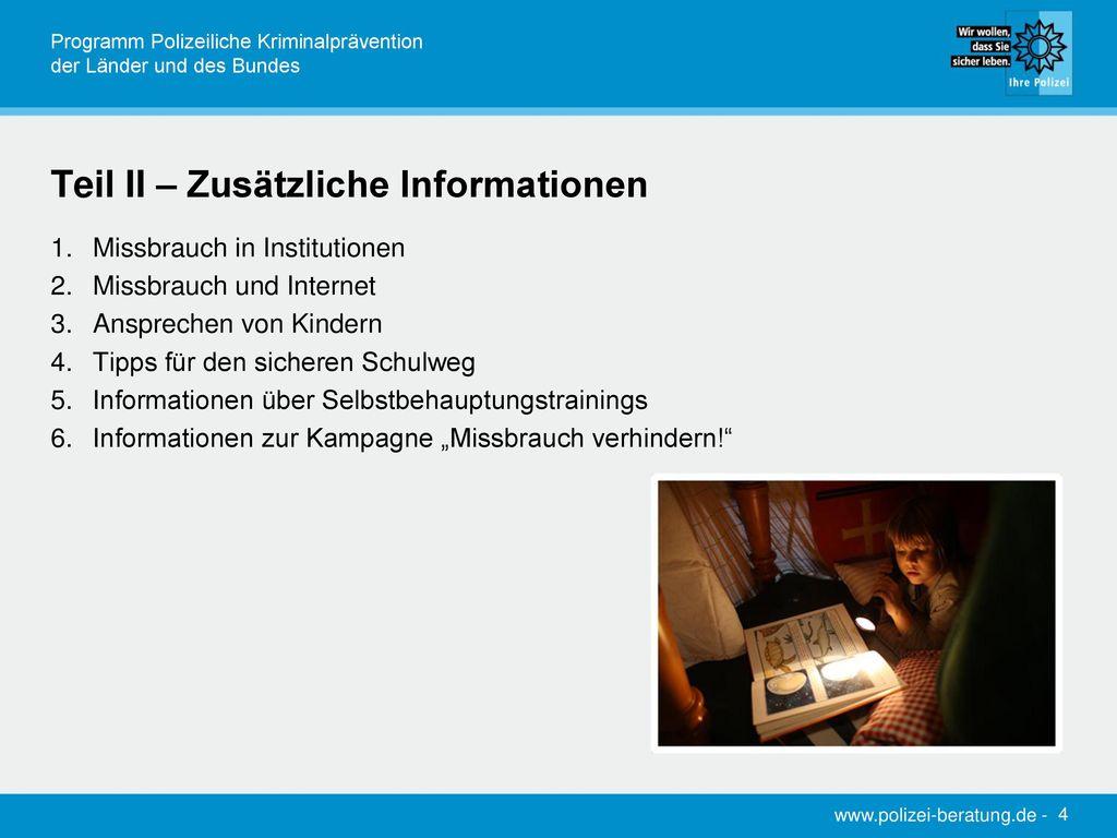 Teil II – Zusätzliche Informationen