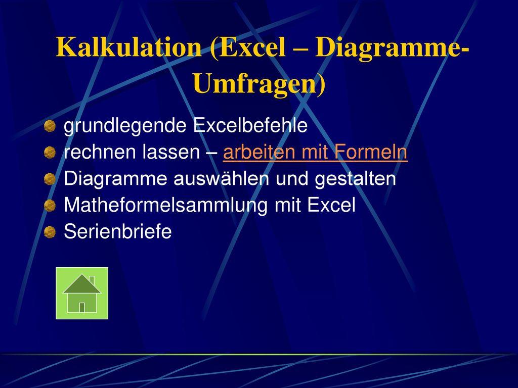 Kalkulation (Excel – Diagramme-Umfragen)