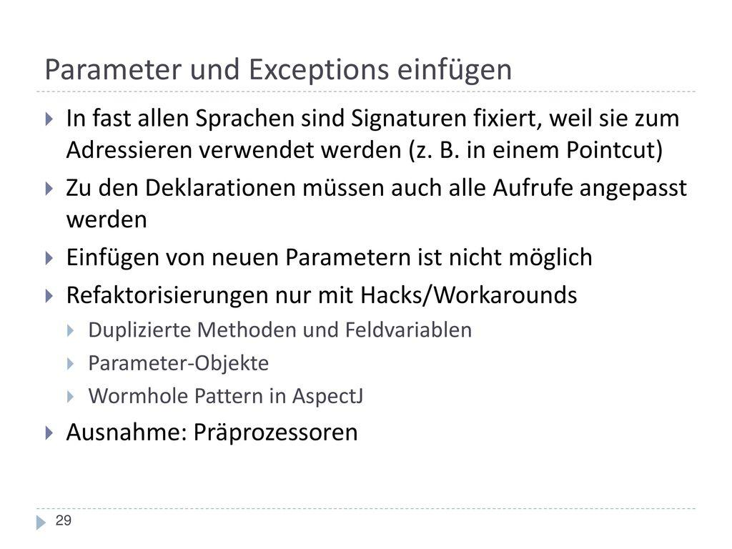 Parameter und Exceptions einfügen