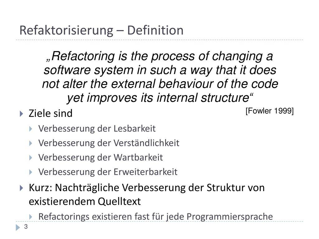 Refaktorisierung – Definition