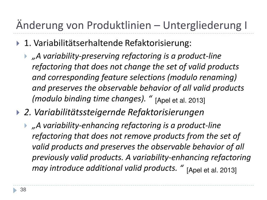 Änderung von Produktlinien – Untergliederung I
