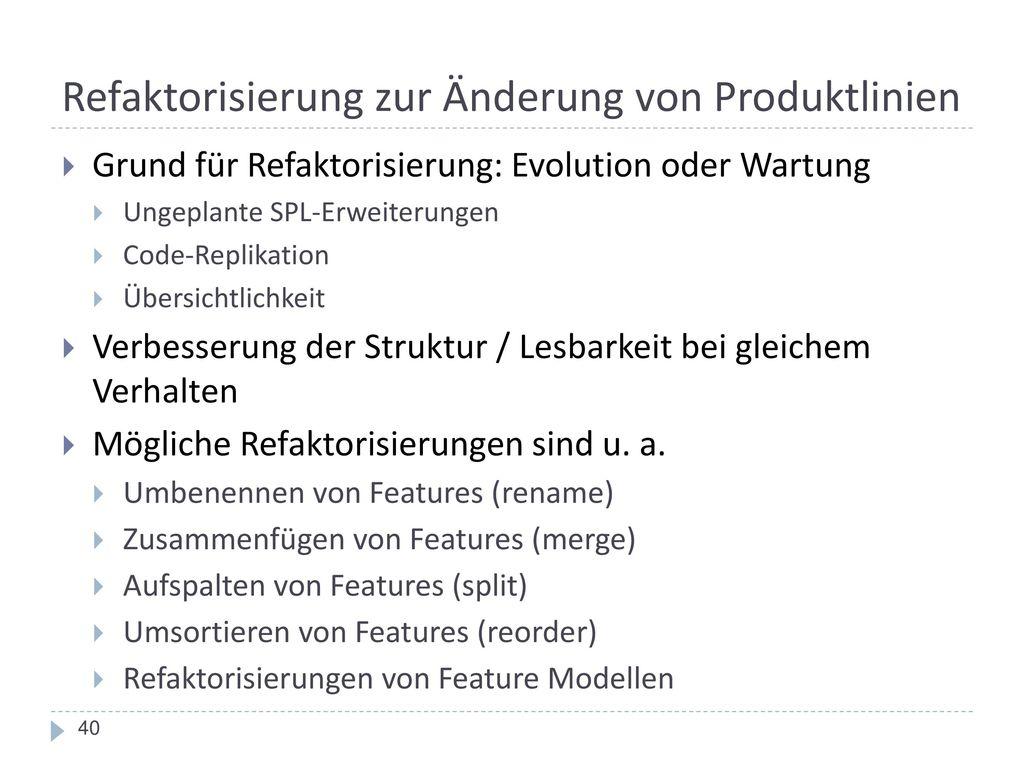 Refaktorisierung zur Änderung von Produktlinien