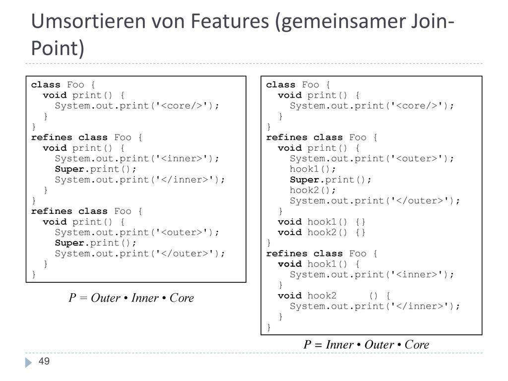 Umsortieren von Features (gemeinsamer Join-Point)