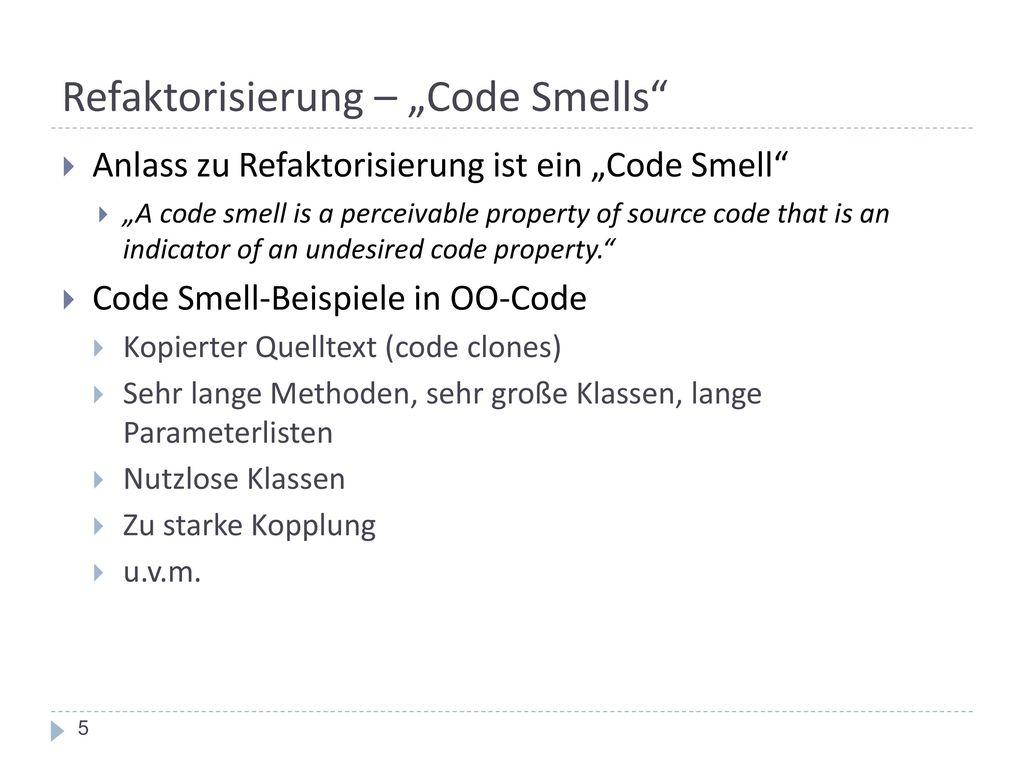 """Refaktorisierung – """"Code Smells"""