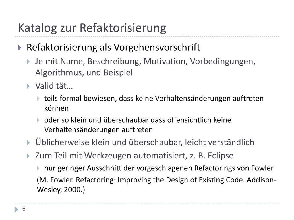 Katalog zur Refaktorisierung