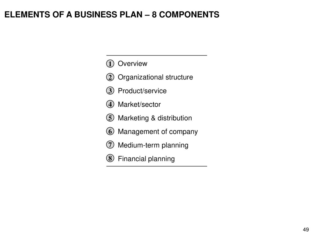 ELEMENTS OF A BUSINESS PLAN – 8 COMPONENTS