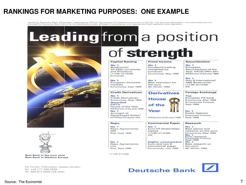 RANKINGS FOR MARKETING PURPOSES: ONE EXAMPLE