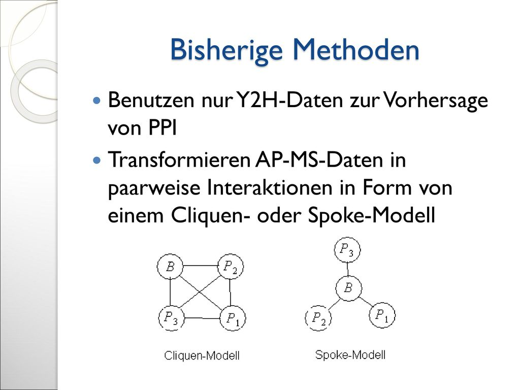 Bisherige Methoden Benutzen nur Y2H-Daten zur Vorhersage von PPI