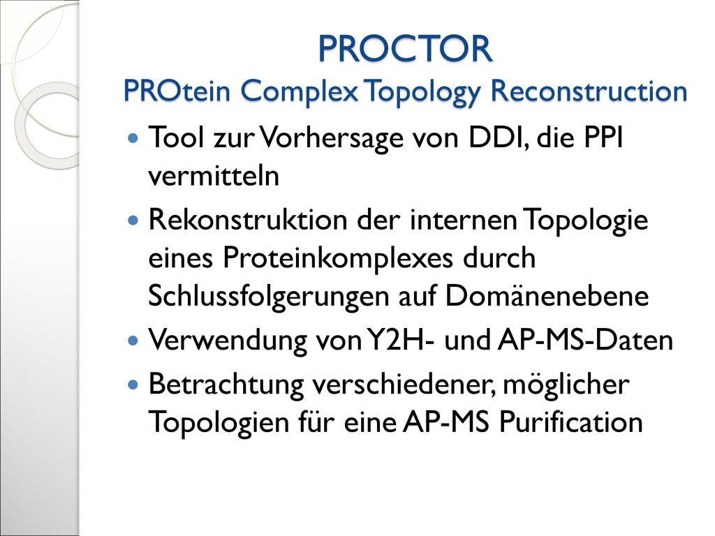 PROCTOR PROtein Complex Topology Reconstruction