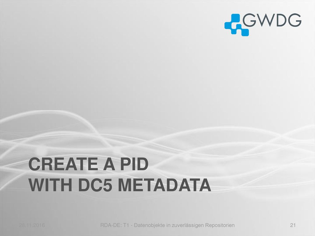 CREATE a PID with DC5 Metadata