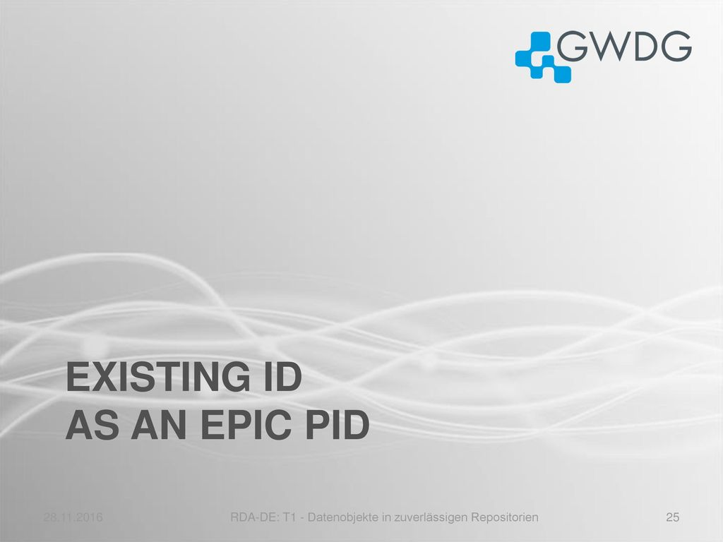 existing ID as an epic PID