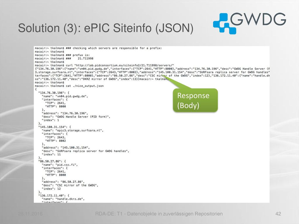 Solution (3): ePIC Siteinfo (JSON)
