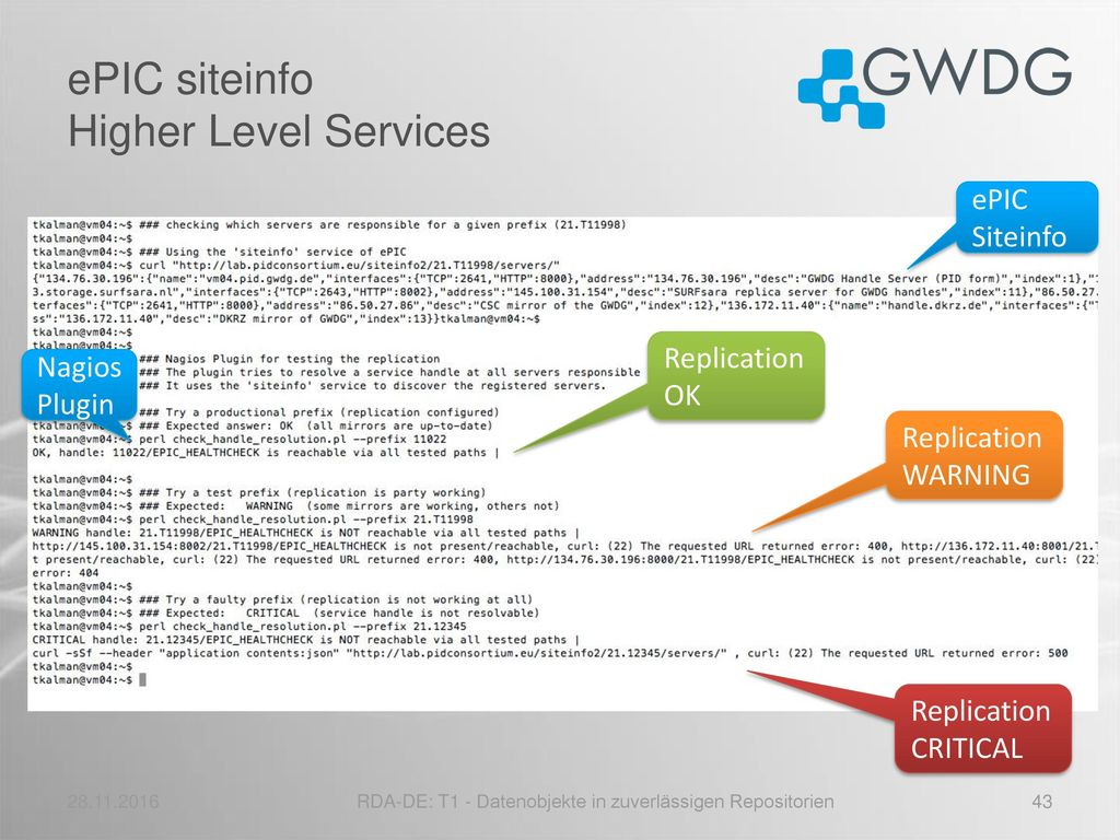 ePIC siteinfo Higher Level Services