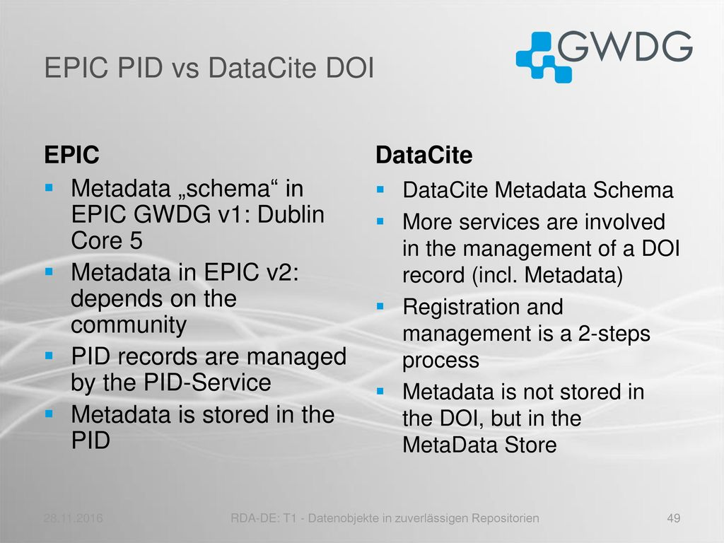 EPIC PID vs DataCite DOI