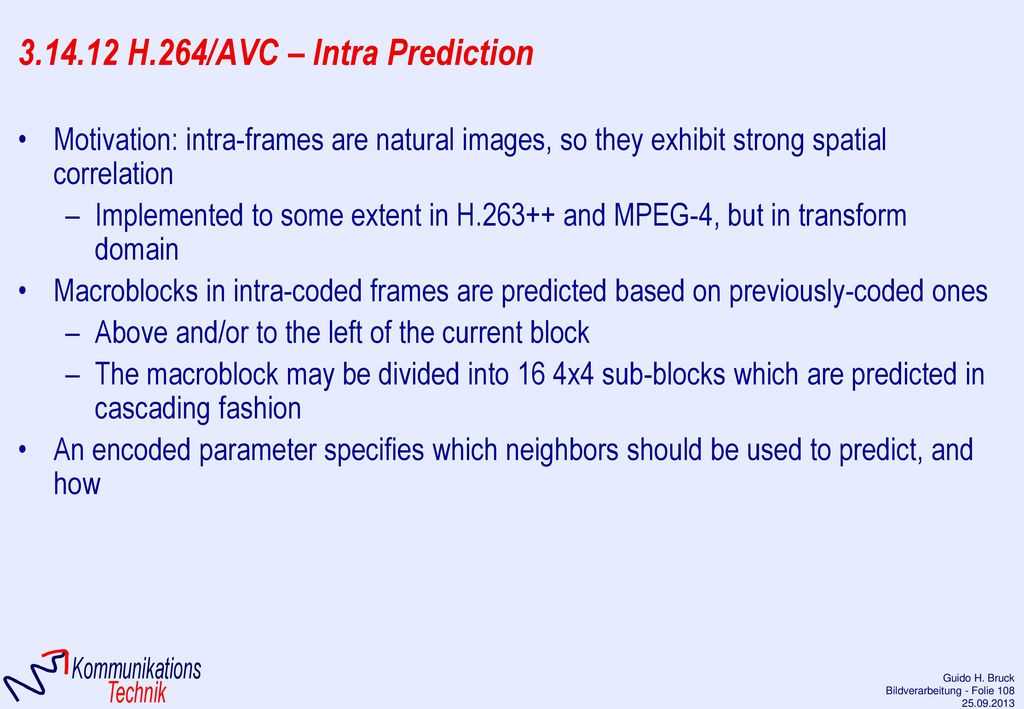 3.14.12 H.264/AVC – Intra Prediction