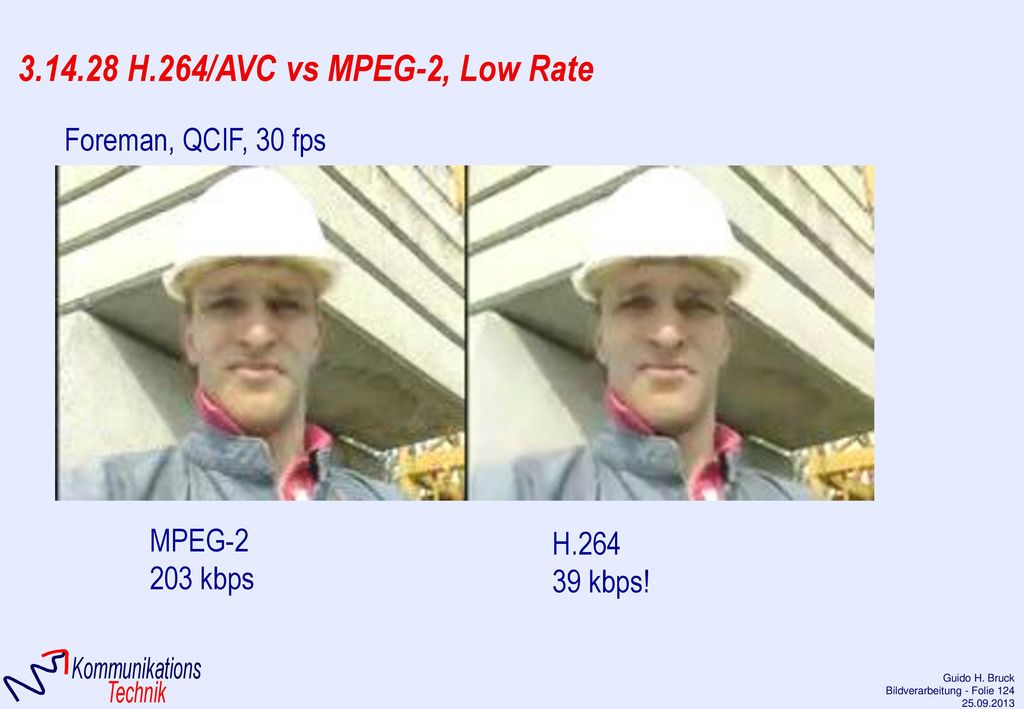 3.14.28 H.264/AVC vs MPEG-2, Low Rate Foreman, QCIF, 30 fps MPEG-2