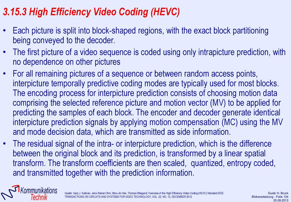 3.15.3 High Efficiency Video Coding (HEVC)