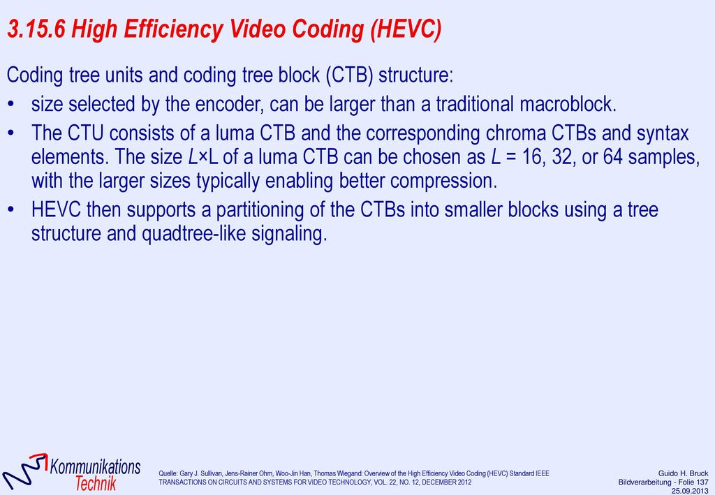 3.15.6 High Efficiency Video Coding (HEVC)