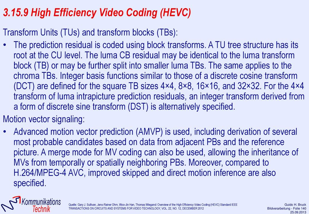 3.15.9 High Efficiency Video Coding (HEVC)