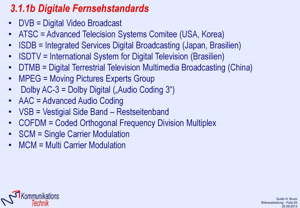3.1.1b Digitale Fernsehstandards