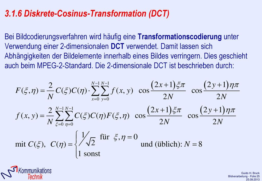 3.1.6 Diskrete-Cosinus-Transformation (DCT)