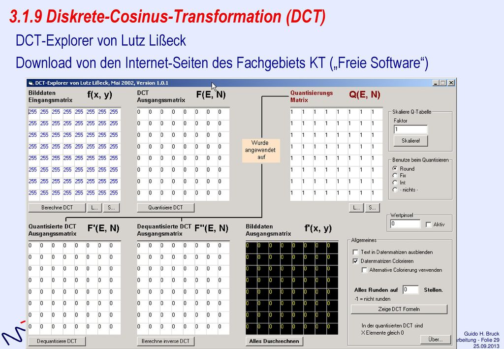 3.1.9 Diskrete-Cosinus-Transformation (DCT)