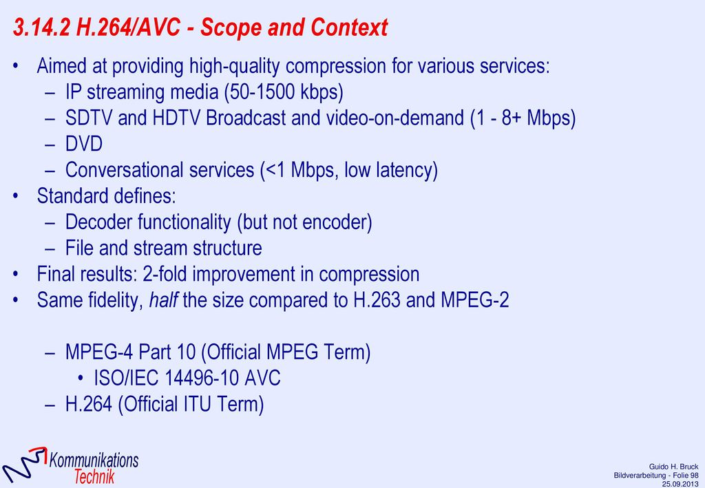 3.14.2 H.264/AVC - Scope and Context