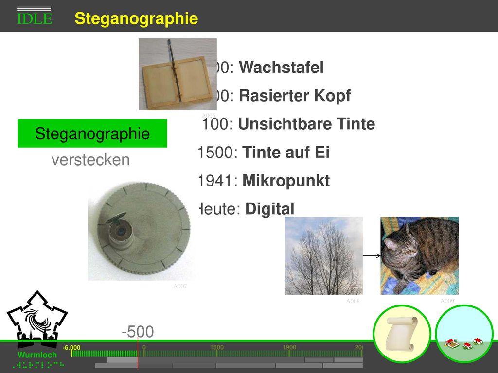 Steganographie -500: Wachstafel -500: Rasierter Kopf