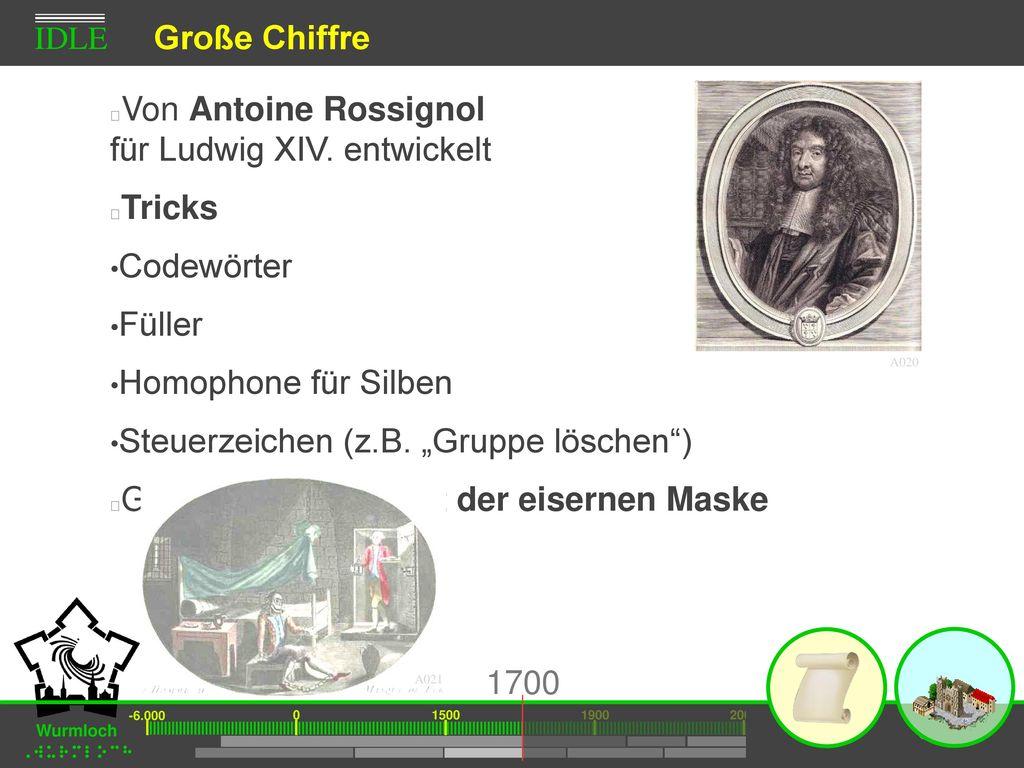 Von Antoine Rossignol für Ludwig XIV. entwickelt Tricks Codewörter