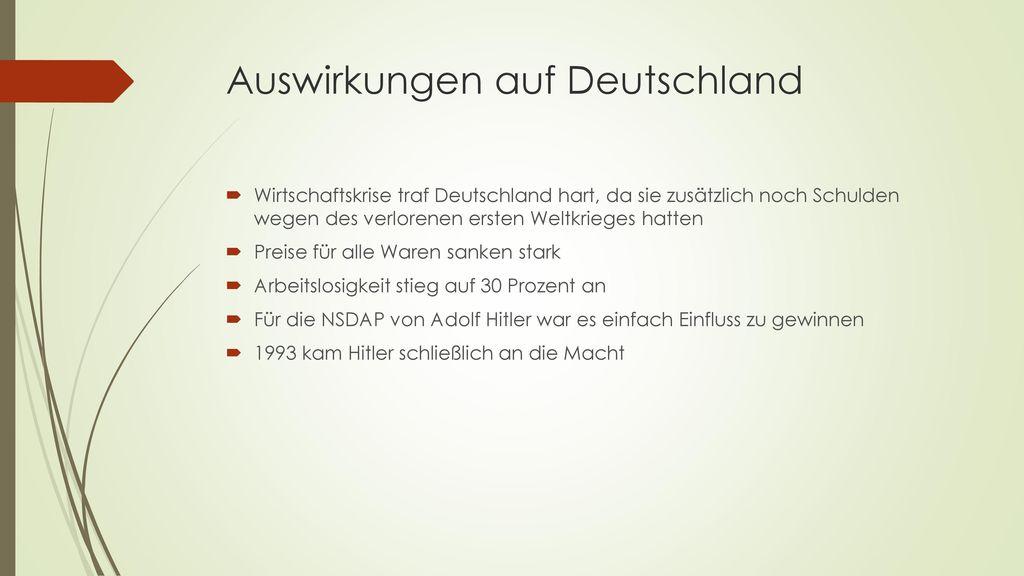 Auswirkungen auf Deutschland