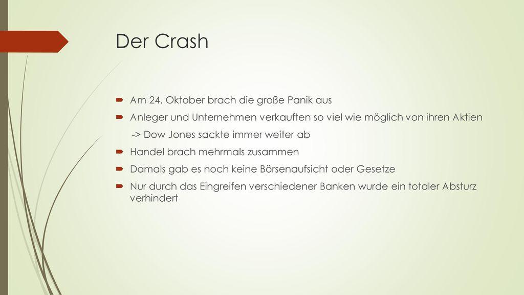 Der Crash Am 24. Oktober brach die große Panik aus