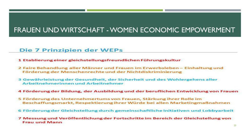 Frauen und Wirtschaft - Women Economic Empowerment