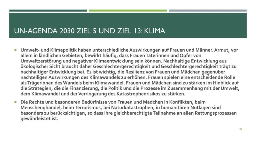 UN-Agenda 2030 Ziel 5 und Ziel 13: Klima