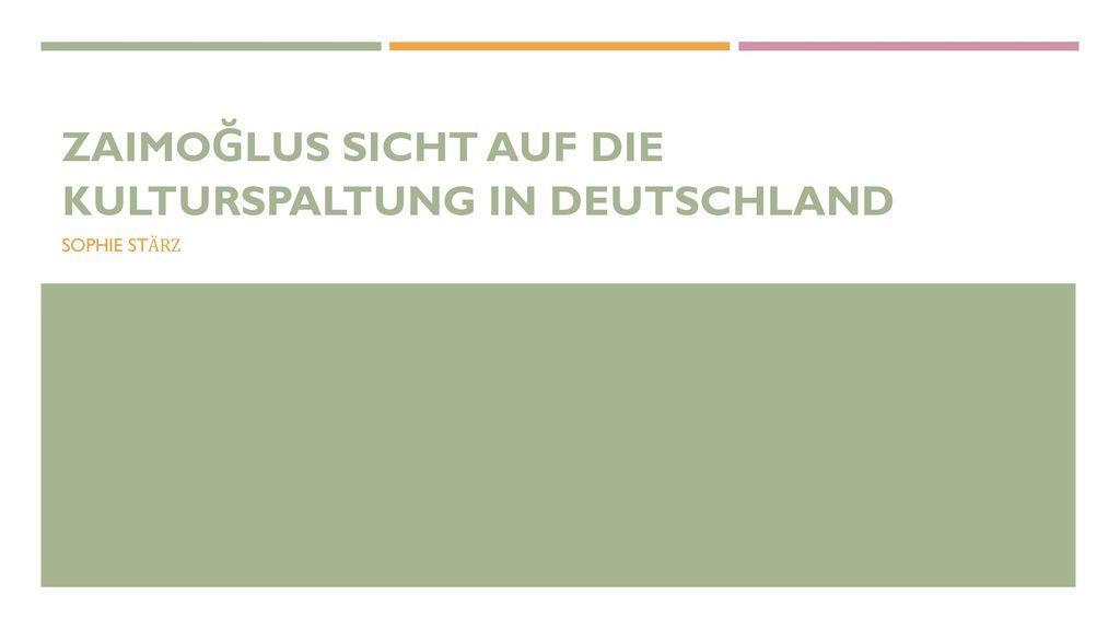 ZaimoĞlus Sicht auf Die Kulturspaltung in Deutschland