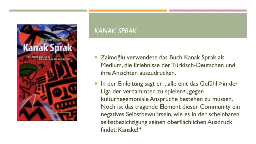 Kanak Sprak Zaimoğlu verwendete das Buch Kanak Sprak als Medium, die Erlebnisse der Türkisch-Deutschen und ihre Ansichten auszudrucken.