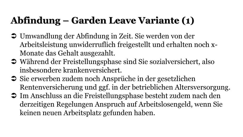 Abfindung – Garden Leave Variante (1)