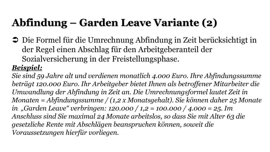 Abfindung – Garden Leave Variante (2)