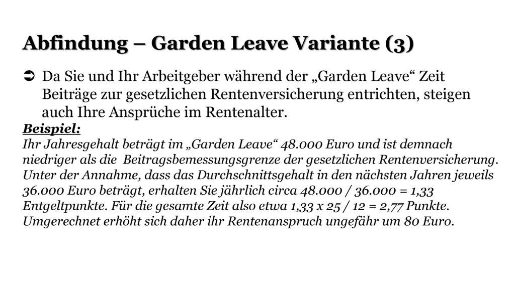 Abfindung – Garden Leave Variante (3)